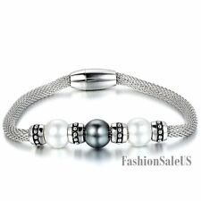 Silver Stainless Steel Retro Bead Magnetic Buckle Womens Mesh Charm Bracelet