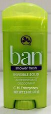 Ban Invisible Solid Antiperspirant Deodorant Shower Fresh Scent 2.6 oz