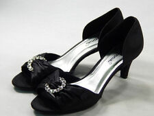 NIB Women's Black D'Orsay Pump 7.5W OPEN-TOE CRYSTAL EMBELLISHED PROM FORMAL