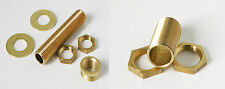 "Brass lamp holder thread 10mm with 2 locking nuts 2 washers and 1/2"" thread"