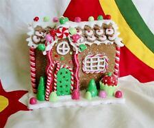 Vintage Style Tiny Strawberry Cupcake Gingerbread House Christmas Cottage