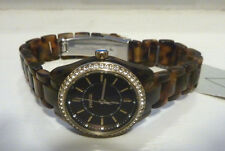 FOSSIL WRIST WATCH WITH TIN/WOMENS/BQ1196/TORTOISE/BROWN/RESIN/RHINESTONE/NWT