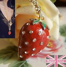 BIG 4cm RED STRAWBERRY pendant KITSCH NECKLACE enamel RHINESTONE long chain
