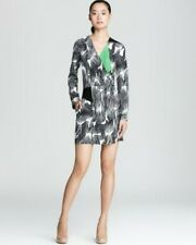DIANE VON FURSTENBERG Magnolia CDC Print Vine Wave Gray Dress 6 NWT $425
