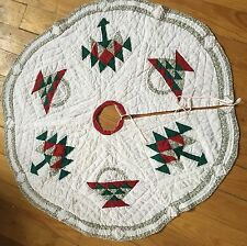 """Quilted Basket Christmas Tree Skirt 46"""" Round"""