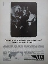 5/1972 PUB COMPAGNIE UTA AIRLINE AIRLINER CHRISTOPHE COLOMB ORIGINAL FRENCH AD