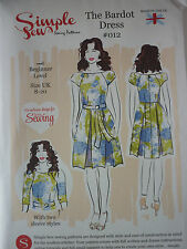 NEW SIMPLE SEW BARDOT DRESS VINTAGE STYLE SEWING DRESSMAKING PATTERN*
