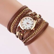 Leather Strap Braided Winding Rivet Bracelet Watches Wristwatch Brown Hot Sale