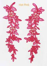 2x brodé Venise Dentelle Paillettes & Perles Motif Bordure appliqué rose chaud # 1