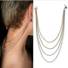 Stud Rivet Spike Ear Cuff Hair Back Chain Tassels Fringe Earing Double Colour