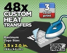 48 Custom Plastisol Heat Transfers Iron-On (3 color) MAX Logo Size 3.5 x 2.0 in.