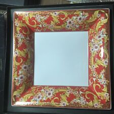 "VERSACE BRIGHT CHRISTMAS PLATE Gold Greek Key ROSENTHAL 12"" NEW RETAIL $600 SALE"
