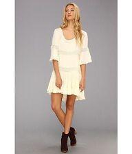 132621 New $128 Free People Daisy Lace Beige Round Neck Dress Medium M