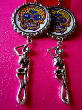 Day Of The Dead Sugar Skull With Skeleton Dangle Charm Earrings #29