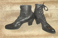 Victorian black leather boots by Daoust Lalonde of Montreal - TRUE VINTAGE