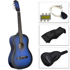 Acoustic Guitar W/ Guitar Case, Strap, Tuner and Pick for New Beginners Blu