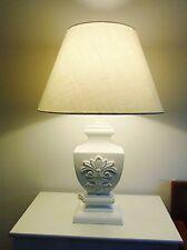 neu TISCHLAMPE 58cm STOFF LAMPENSCHIRM & HOLZFUSS Romantik weiß  E27 40 W. A++