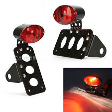 "BLACK & RED SIDE AXLE MOUNT LICENSE PLATE HOLDER BRAKE LIGHT 1"" MOUNTING HOLE"