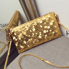 New Women Glitter Sequins Handbag Party Evening Envelope Clutch Bag Wallet Purse