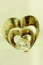 S3218 VINTAGE STERLING SILVER GIANT HEART OPEN WORK STUDIO RING CZ COCKTAIL ART