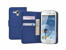 BLUE WALLET Leather flip pouch case cover for Samsung Galaxy S Duos GT-S7562