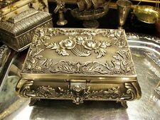Brass Plate Jewellery Box Roses For Necklaces With Music Box Vintage Antique