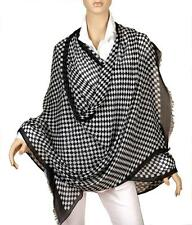 NEW YSL SAINT LAURENT BLACK WHITE CHECKS EXTRA LONG VISCOSE SHAWL WRAP SCARF UNI