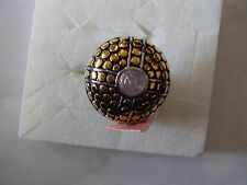White glass 7mm gold stainless steel ring size 7 DS204