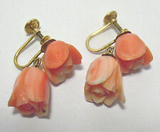 VINTAGE 14K GOLD LARGE CARVED CORAL ROSE EARRINGS SCREW DOWN DANGLE 6.8 GRAMS