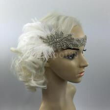 White Feather Headpiece Headband Flapper 1920s Gatsby Silver Rhinestone
