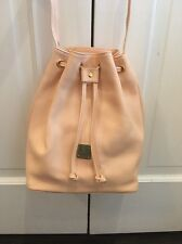 NWOT MCM Drawstring Bucket Bag Purse Light Peach Pink Pebbled Leather NEW