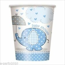 UMBRELLA ELEPHANT BOY BABY SHOWER 9oz PAPER CUPS (8) ~ Party Supplies Blue Drink