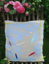 Unique Handmade Hand Embroidery Beaded Floral Cream Blue Real Silk Cushion Cover