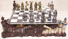Chess Set with Glass Board Themed Polyresin Platform Pewter Knights and Skeltons