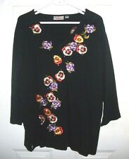 Women's XL Quacker Factory Pullover Sweater Embellished Pansies