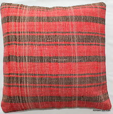 (40*40cm, 16 inch) Turkish handwoven kilim cushion cover red charcoal check