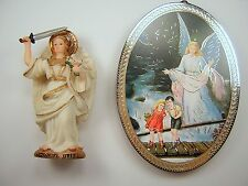 Childs Gift Archangel Uriel Statue & Guardian Angel Plaque Nino ángel de guarda