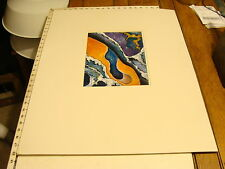 JAN STEELE, painting with large matting: MULTI COLOR BLUE ORANGE