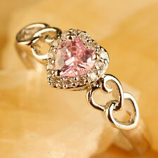 Heart Cut Pink & White Topaz Gemstones Fashion Jewelry Women Silver Ring Size 9