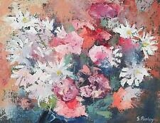 Simon Pooley Still Life Oil Painting - Chrysanthemums Flowers (Cornish Art)