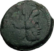 179BC Rome ANONYMOUS Ae As JANUS GALLEY SHIP DOLPHIN Ancient Roman Coin i58904
