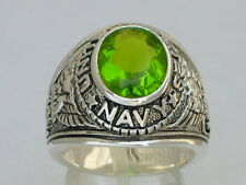 925 Sterling Silver August Peridot Birthstone US Military Navy Men Ring Size 12