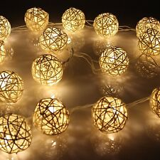 NUOVO Di Vimini Rattan BALL Indoor camera da letto Xmas FAIRY stringa luci 20 Warm White LED