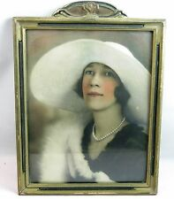 Art Deco Lady with Large White Hat & Pearl Necklace Ornate Framed Photo Print