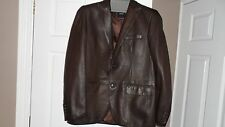 Hugo Boss Mens Brand New without tags Brown Leather Blazer style jacket
