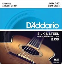 D'Addario Guitar Strings  EJ35 12-String  Silk & Steel Folk  11-47