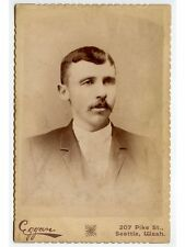 ANTIQUE CAB PHOTO OF A MAN W/ GREAT MUSTACHE FROM SEATTLE, WASHINGTON, STUDIO