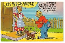 How Come You Booted My DOG? Housewife and Bum, Tramp Vintage Postcard Humor