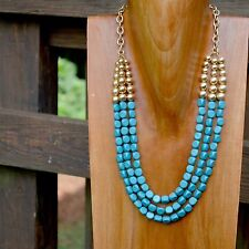 Statement Turquoise Blue & Gold Beaded Layered Necklace