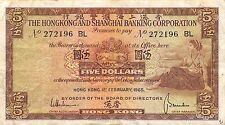 Hong Kong  $5  1.2.1965 Series BL  Circulated Banknote A424EL